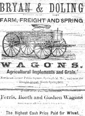 Advertisment for Bryan & Doling Farm, Frieght and Spring. Wagons, Agricultural Implements and Grain.